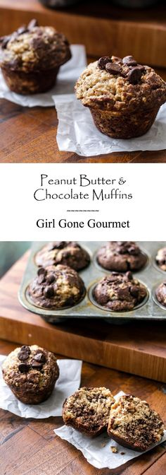 Peanut Butter and Chocolate Muffins - Great for breakfast, dessert, or snack!!