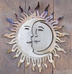 Items similar to Reclaimed Wood Moon Sculpture Wedding decor Repurposed Recycled Wood slice sculpture Tree slice abstract shape free form on Etsy Metal Artwork, Metal Wall Art, Forging Metal, Sun And Stars, Metal Flowers, Metal Crafts, Wall Sculptures, Wrought Iron, Metal Working
