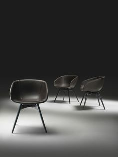 Eva Dining Chair by Marco Cocco for Klab  Fabric or leather wrapped seat with painted, open-pore wood base