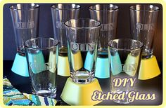 Step-by-step photo tutorial for #DIY Glass Etching - A tutorial on how to etch letters & words on glasses, jars, bottles, & more