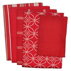 Patterned Kitchen Towels and Dish Cloths from Design Imports combine superior function with classic good looks. The set includes a variety of coordinating patterns and textures in absorbent cotton. Red Kitchen, Kitchen Dishes, Kitchen Linens, Kitchen Towels, Kitchen Gadgets, Buffalo Check Tablecloth, Thing 1, Red Design, Cotton Towels