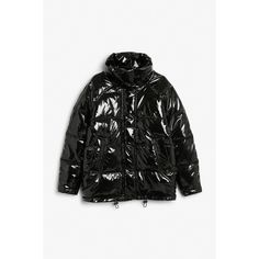 Puffer jacket - Black magic - Coats & Jackets - Monki ($86) ❤ liked on Polyvore featuring outerwear, jackets, puffer jacket, monki, oversized collar jacket, puffa jacket and snap jacket