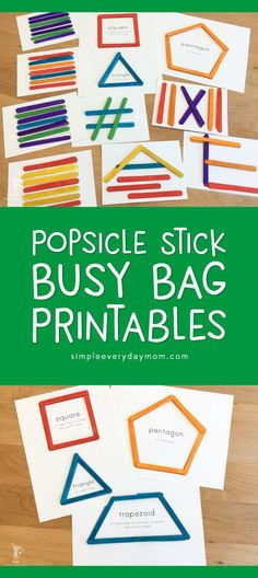 Busy Bag Idea For Kids | Kids will love these printable popsicle stick activities that work on fine motor skills, shape recognition, patterning and more! #earlychildhood #finemotor #busybags #kidsactivities #educationalactivities