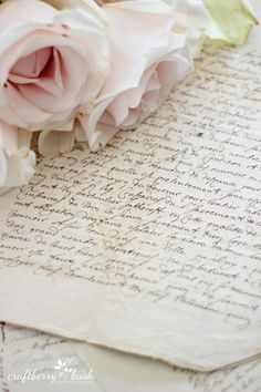 Favorite Vintage Finds with Craftberry Bush - Beautiful Flowers, Beautiful Pictures, Parfum Rose, Old Letters, French Script, Handwritten Letters, Vintage Lettering, Book Aesthetic, French Antiques