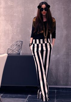 striped pants 2017 with black top 2017