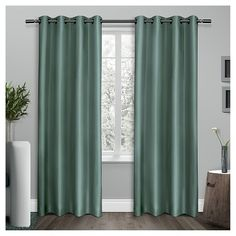 """Exclusive Home Shantung Curtain Panels - Set of 2 Panels - Teal - 54""""x84"""" : Target"""
