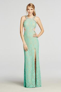 Halter Lace Prom Dress with Beaded Cut Outs 3622CP6D