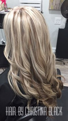 Ash blonde highlights with chocolate brown lowlights and under color.