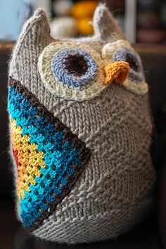 Rainbow granny-square owl wings. LOVE. #owl #knitting #crochet (i could make the owl body from a old sweater)