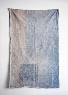 """PATCHED TEXTILE  52.5"""" x 33"""". Double sided. Hand dyed/printed, patched and sunfaded."""