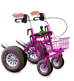 Pink Rollator with real power! Yeahhhh! -- if you have to do it, do it with pizazz!