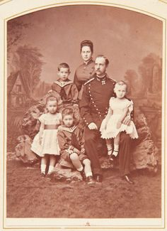 "Queen Olga and King George l of the Hellenes with their four eldest children ~ Constantine,Marie,George and Alexandra.  ""AL"""