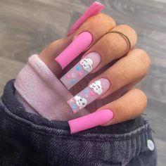 Acrylic Nail Tips, Cute Acrylic Nail Designs, Pink Acrylic Nails, Disney Acrylic Nails, Easy Nail Designs, Glue On Nails, Gel Nails, Fake Nails French, Nail French