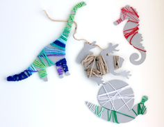 Wrapped Chipboard Critters created with the Silhouette - fun Kid's Craft!