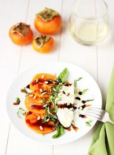 {recipe} Fuyu Persimmon Caprese with Burrata Healthy Salad Recipes, Vegetarian Recipes, Burrata Recipe, Caprese Recipe, Persimmon Recipes, Vegetarian Thanksgiving, Great Appetizers, Milk Recipes, Food 52
