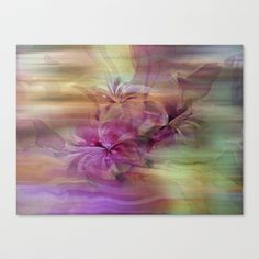 Sunset Painterly Floral Abstract Canvas Print by Judy Palkimas - $85.00