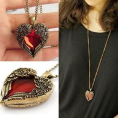 a2ddb3d684e9 Women Love Heart Red Crystal Wing Long Chain Sweater Pendant Necklace  Jewelry  Unbranded  NecklacePendant