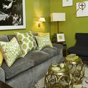 Fantastic Green U0026 Gray Living Room Design With Chartreuse Walls Paint  Color, Gray Corduroy Sofa, White U0026 Green Silk Ikat Pillows, Antique Brass  Garden ...