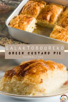 If you're a custard lover, you'll definitely love this traditional Greek dessert! Galaktoboureko is a creamy vanilla custard pie that's encased in crispy phyllo dough and drenched in a delicious, flavored syrup. Greek Desserts, Phyllo Dough, Vanilla Custard, Syrup, Pie, Traditional, Easy, Torte, Cake