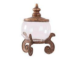 Bombonera en metal y vidrio - cobre