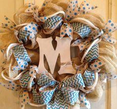 Monogram Chevron Wreath with Blue Burlap by PurplePetalDesign, $62.00