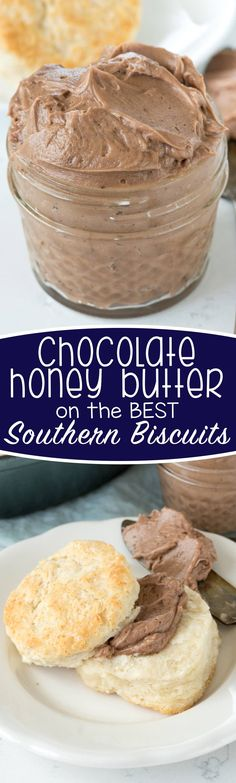 Chocolate Honey Butter – this recipe is so easy and indulgent! Whip butter with … Chocolate Honey Butter – this recipe is so easy and indulgent! Whip butter with honey and cocoa for the BEST spread for biscuits. We couldn't stop eating it! Flavored Butter, Homemade Butter, Butter Recipe, Homemade Biscuits, Salted Butter, Cocoa Butter, Best Buttermilk Biscuits, Southern Biscuits, Just Desserts
