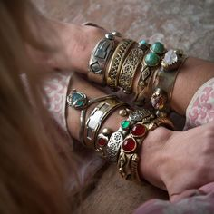 Cool chunky gypsy chic stacking turquoise & gemstone bracelet cuffs, silver boho jewelry for a modern hippie look. For the BEST Bohemian fashion trends for 2014 FOLLOW http://www.pinterest.com/happygolicky/the-best-boho-chic-fashion-bohemian-jewelry-gypsy-/ by