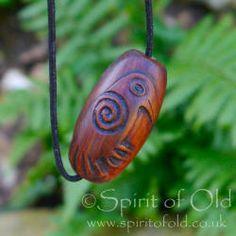 Irish bog yew Stylised Raven bead