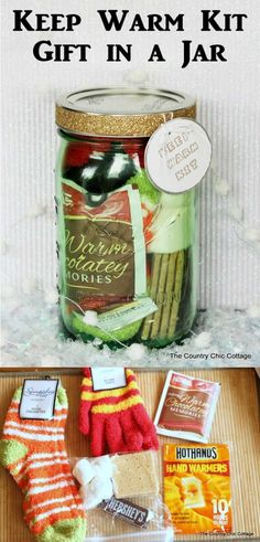 Homemade DIY Gifts in A Jar | Best Mason Jar Cookie Mixes and Recipes, Alcohol Mixers | Fun Gift Ideas for Men, Women, Teens, Kids, Teacher, Mom. Christmas, Holiday, Birthday and Easy Last Minute Gifts | Keep Warm Kit Gift in a Jar |  http://diyjoy.com/diy-gifts-in-a-jar