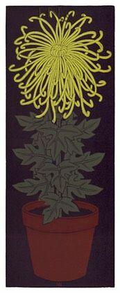 Yellow Chrysanthemum, linocut by Jacques Hnizdovsky, 1976