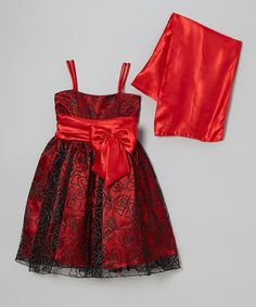 Take a look at this Red & Black Bow Dress - Toddler & Girls by Cozy Bug on #zulily today! $39.99
