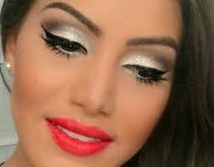 Pearl white glitery eyes shadow cherry red lip gloss from Revlon