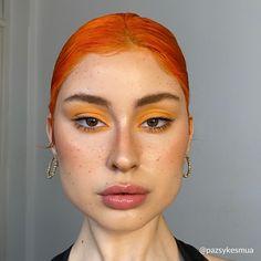 Androgynous Makeup, Edgy Makeup, Makeup Inspo, Makeup Inspiration, Beauty Makeup, Hair Makeup, Fashion Inspiration, Orange Eye Makeup, Yellow Makeup