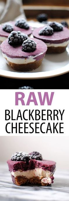 Raw Blackberry Chees Raw Blackberry Cheesecakes are a healthy vegan gluten free dessert made with just 8 ingredients: coconut milk shredded coconut maple syrup dates walnuts cashews coconut oil and blackberries. Dessert Oreo, Coconut Dessert, Low Carb Dessert, Brownie Desserts, Mini Desserts, Coconut Milk, Appetizer Dessert, Baking Desserts, Lemon Desserts