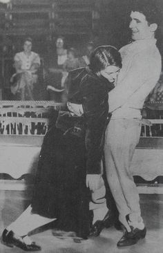 1930s couple dancing during a dance marathon.  These couples would dance for cash prizes.  One would sleep while the other continued to dance.