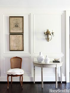 """""""Panel a small room in paint-grade raised or recessed paneling, using tone-on-tone light colors to keep it airy. And if the room doesn't already have a fireplace, I might add a wonderful mantelpiece for warmth and depth — but it would have to look like a truly functional fireplace!"""" —Christopher Maya Design by Paige Schnell and Doug Davis of Tracery Interiors"""