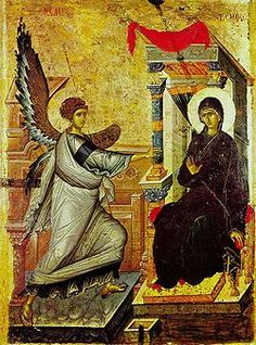Orthodox icon of the Annunciation: O Theotokos and Virgin rejoice. Mary, full of grace The Lord is with thee. Blessed art thou among women and blessed is the fruit of thy womb; for thou hast born the savior of our souls. Byzantine Icons, Byzantine Art, Early Christian, Christian Art, Religious Icons, Religious Art, Madonna, Feast Of The Annunciation, Angelus