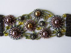 Astral Garden Bracelet Detail.  Seed bead woven by Jeka Lambert.  Glass pearls, pyrite beads, seed beads.