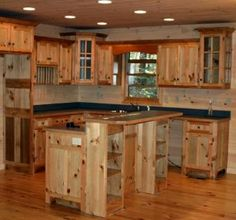 Custom Kitchen, Kitchen Islands, Kitchen Cabinets, and Home Bars Rustic Country Kitchens, Rustic Kitchen Design, Cabin Kitchens, Vintage Kitchen, Knotty Pine Kitchen, Hickory Kitchen Cabinets, Unfitted Kitchen, Remodeling Mobile Homes, Bars For Home