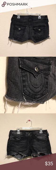 True Religion Black Denim Cut Off Shorts Sz 26 True Religion Shorts