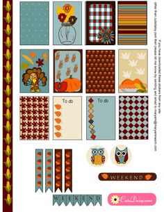 FREE Thanksgiving Stickers Sampler Kit for Happy Planner and EC by Cutedaisy