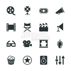 Film Industry Silhouette Icons Ilustração Artística Vectorial Stock Isenta de Royalties