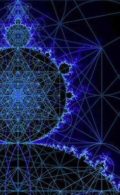 Drops and Sparks : Richard Gannaway (Flower of Life grid and Metatron's Cube nested within a Mandelbrot)