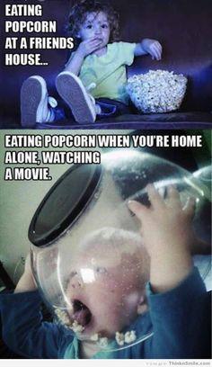 Eating popcorn in public vs. at home #popcorn