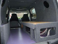 Carpeting finished - think we've done a pucker job! T4 Camper, Camper Beds, Camper Trailers, Cargo Van Conversion, Camper Van Conversion Diy, Campervan Bed, Campervan Ideas, Vw Caddy Maxi Life, Caddy Van