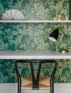 Arent & Pyke - Figtree House - a beachside Victorian terrace in Sydney. Beautiful workspace and botanical wallpaper. Fornasetti Wallpaper, Interior Design Awards, Modern Interior Design, Interior Design Inspiration, Office Wallpaper, Feature Wallpaper, Tree Wallpaper, Leaves Wallpaper, Girly Girl