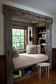 creative interior design living room rustic with sitting area at windowsill - Room Design Rustic Home Design, Home Remodeling, Home Decor, Nook Decor, Rustic Living Room, Interior Design Living Room, Remodel Bedroom, Rustic House, Manufactured Home Remodel