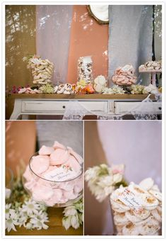 pastel dessert table  like how the banners are lacy!