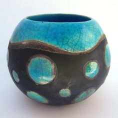 Round Ceramic Turquoise Raku Pot with Spots