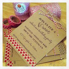 Invitations made with baker's twine & washi tape from www.pickyourplum.com  @pickyourplum